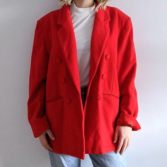 1980's Asymmetrical Peacoat with Power Shoulders